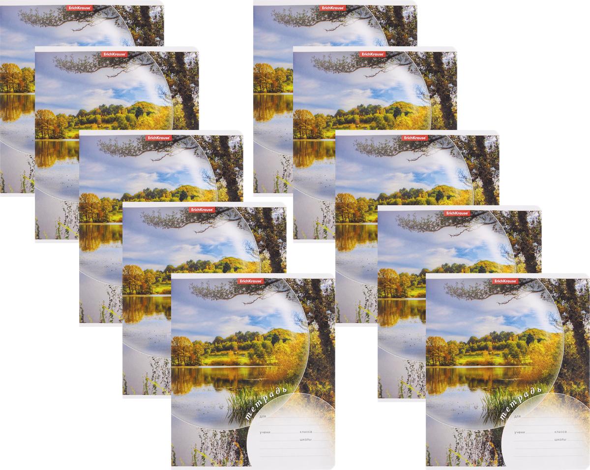 Erich Krause Набор тетрадей Магия природы Лето 24 листа в линейку 10 шт40046_летоНабор тетрадей Erich Krause Магия природы Лето предназначен для младших школьников. Обложка каждой тетради выполнена из плотного картона с закругленными углами и оформлена изображением летнего пейзажа. На обратной стороне обложки имеется справочная информация (русский и английский прописные алфавиты).Внутренний блок тетрадей состоит из 24 листов белой бумаги в линейку с красными полями.В наборе 10 тетрадей.