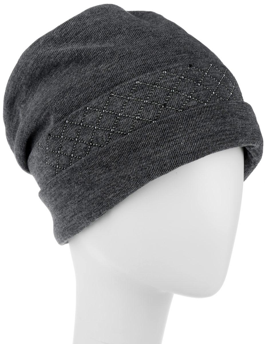Шапка женская Level Pro Сетка+росчерк, цвет: темно-серый меланж. 994374. Размер универсальный994374Стильная женская шапка Level Pro дополнит ваш наряд и не позволит вам замерзнуть в холодное время года. Шапка выполнена из шерсти с добавлением полиэстера, что позволяет ей великолепно сохранять тепло и обеспечивает высокую эластичность и удобство посадки. Внутренняя сторона модели флисовая. Изделие оформлено оригинальными тканевыми прострочками спереди и сзади. Дополнено выкладкой из блестящих страз. Такая шапка составит идеальный комплект с модной верхней одеждой, в ней вам будет уютно и тепло.