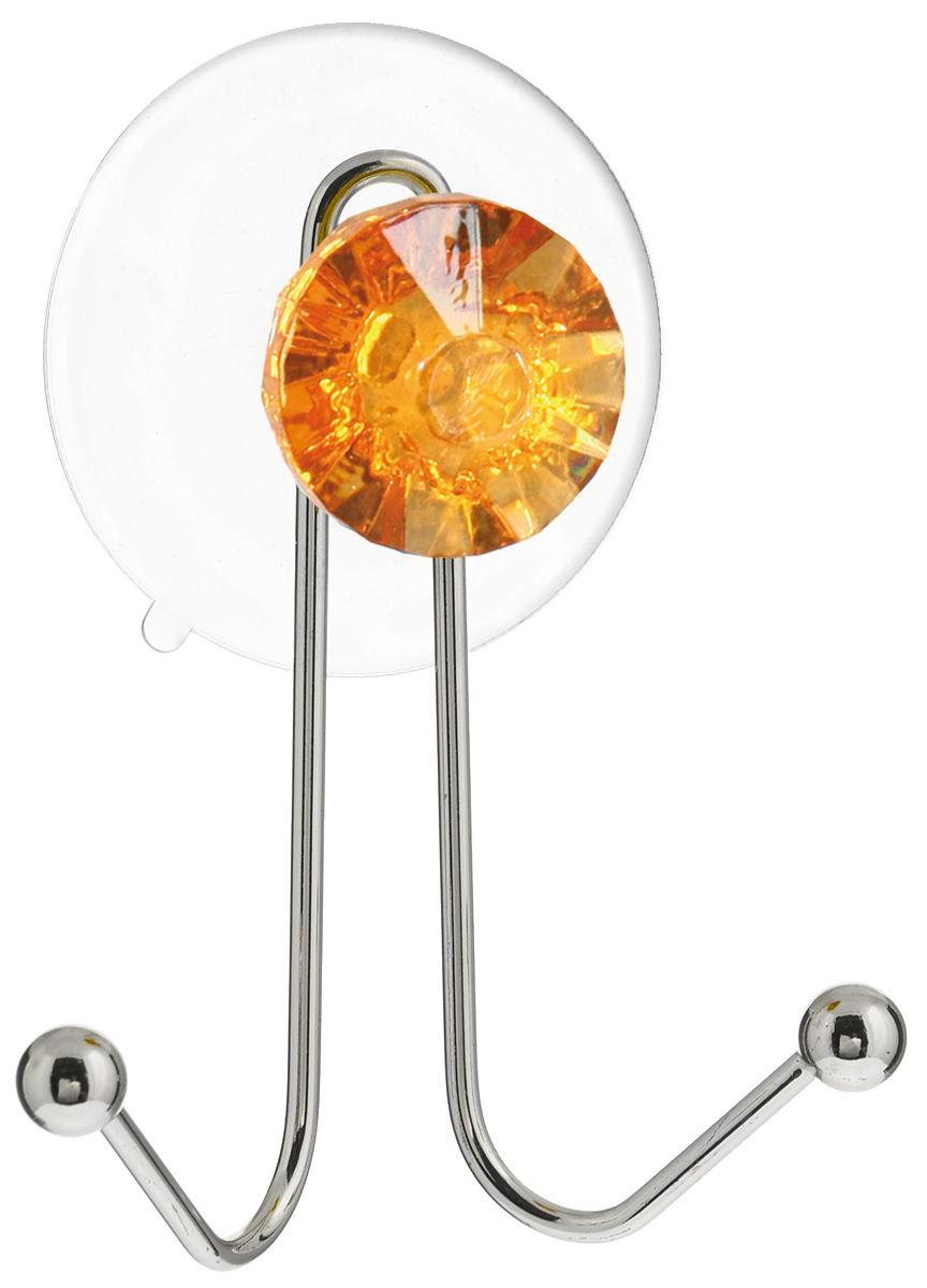 Крючок двойной Top Star Kristall, на вакуумной присоске, цвет: желтый, серебристый, 11 х 8 х 4,5 см280881Крючок Top Star изготовлен из хромированной стали и украшен пластиковой вставкой в виде кристалла. Крючок крепится к поверхности при помощи присоски. Для надежности крепления присоску необходимо устанавливать на гладкой, воздухонепроницаемой, очищенной и обезжиренной поверхности. Такой крючок прекрасно впишется в интерьер ванной комнаты и поможет эффективно организовать пространство.