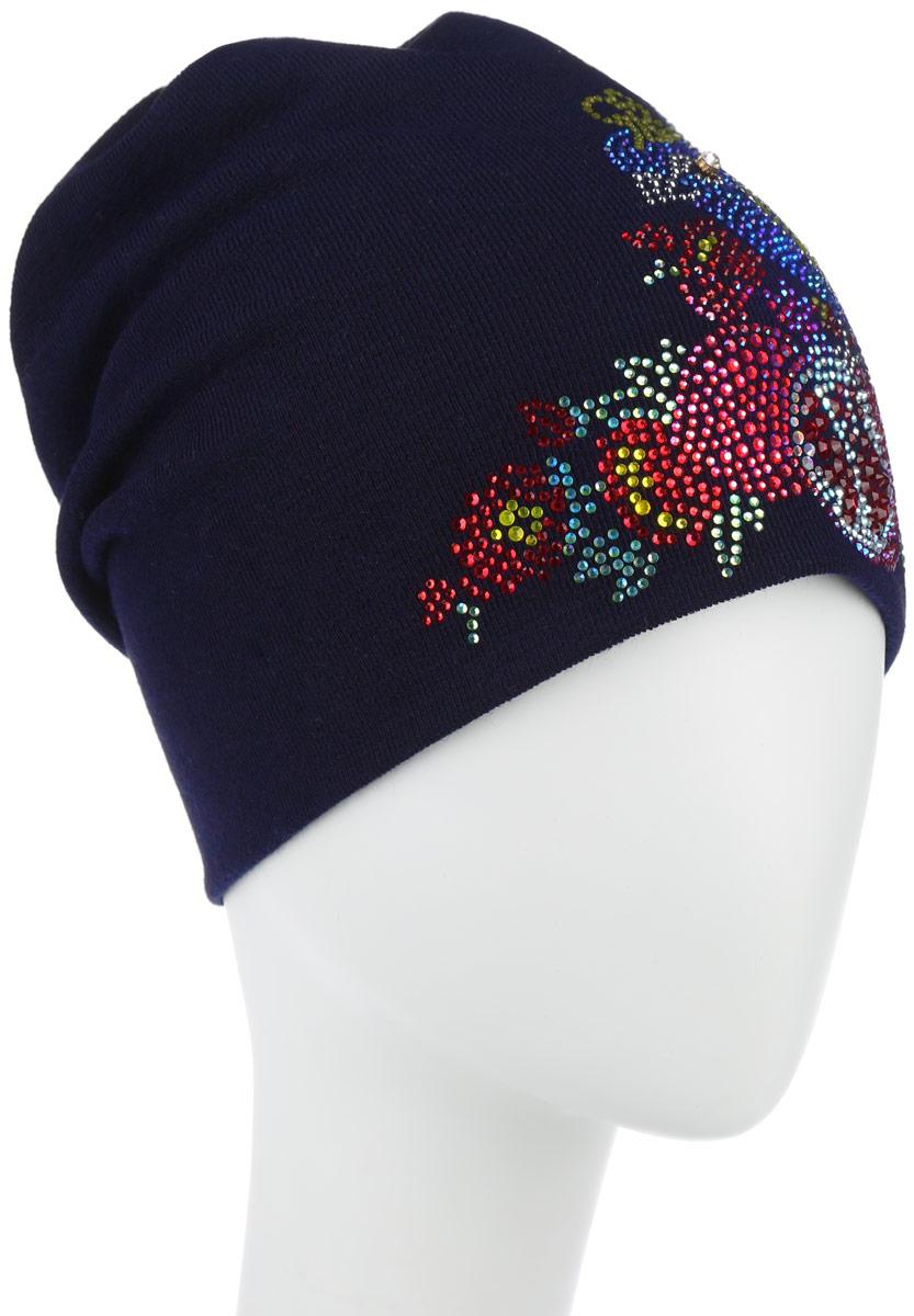 Шапка женская Level Pro Птица райская, цвет: темно-синий. 38910. Размер универсальный38910Стильная женская шапка Level Pro Птица райская дополнит ваш наряд и не позволит вам замерзнуть в холодноевремя года. Шапка выполнена из шерсти с добавлением полиэстера, что позволяетей великолепносохранять тепло и обеспечивает высокую эластичность и удобство посадки. Изделие оформлено оригинальной аппликацией в виде птицы, выполненной изблестящих страз. На макушке ткань закручивается, как круговорот. Верх шапки сквозной. Такая шапка составит идеальный комплект с модной верхней одеждой, в ней вам будетуютно и тепло.