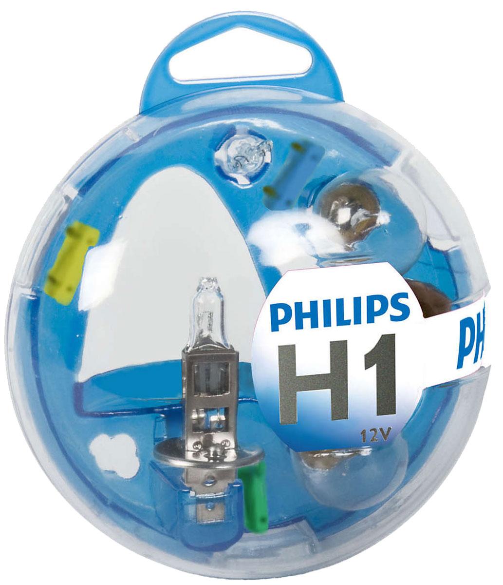 Комплект ламп Philips H1 Vision: H1, P21W, P21/5W, PY21W, W5W, Fuse10A, Fuse 15A, Fuse 20A. 55717EBKM55717EBKMВ комплект Essential Box входят лампы H1 для автомобильных фар, обеспечивающие на 30 % больше света. Наши лампы излучают мощный точно направленный луч света и характеризуются высокой светоотдачей, увеличивая видимость Вашего автомобиля на дороге.