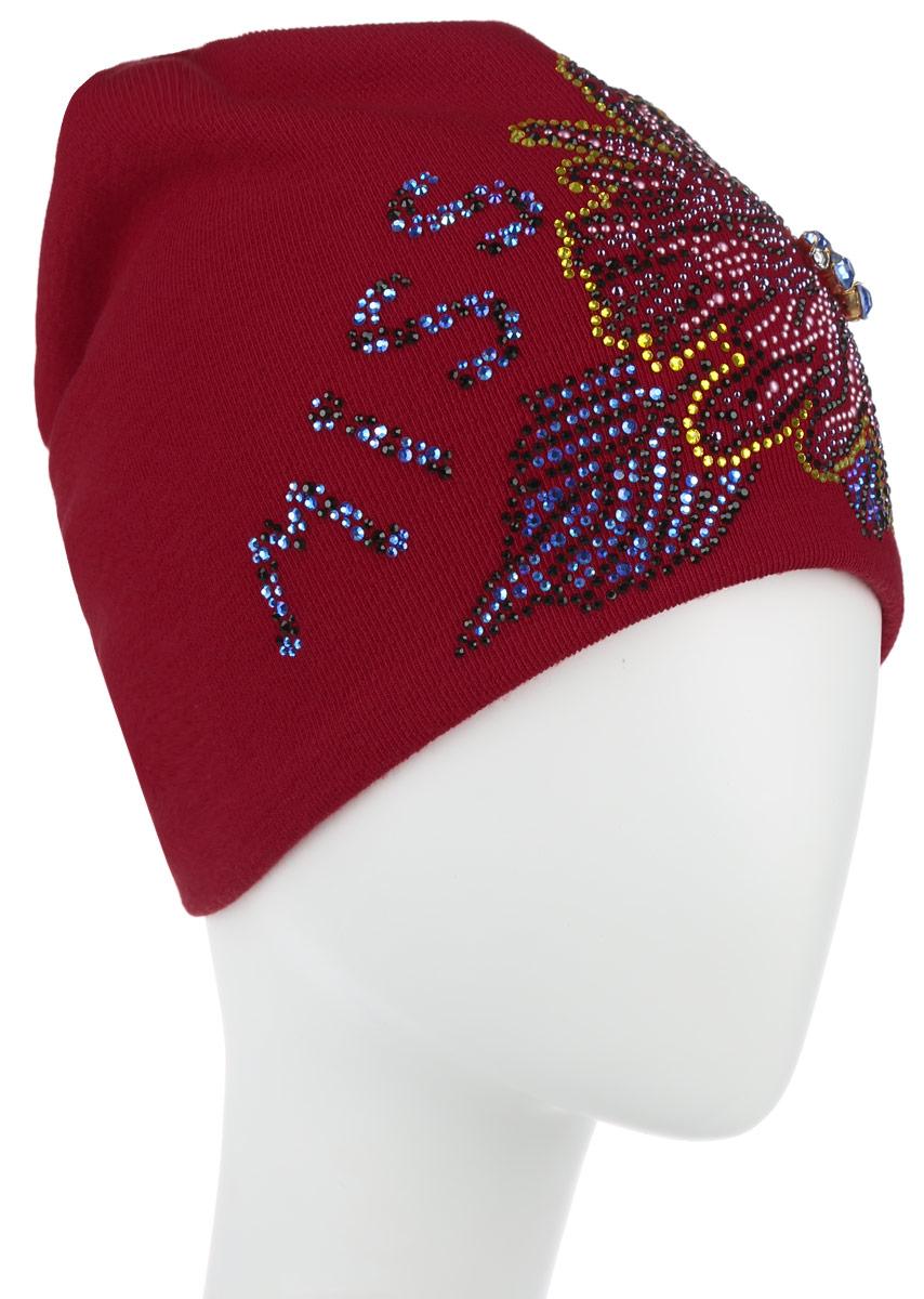 Шапка женская Level Pro Мисс, цвет: красный. 390740. Размер универсальный390740Стильная женская шапка Level Pro Мисс дополнит ваш наряд и не позволит вам замерзнуть в холодноевремя года. Шапка выполнена из шерсти с добавлением полиэстера, что позволяетей великолепносохранять тепло и обеспечивает высокую эластичность и удобство посадки. Внутренняя сторонамодели трикотажная. Изделие оформлено оригинальными аппликациями в виде надписи и цветка, выполненными из блестящих страз. Дополненцветок выкладкой из крупных камней. Такая шапка составит идеальный комплект с модной верхней одеждой, в ней вам будетуютно и тепло.