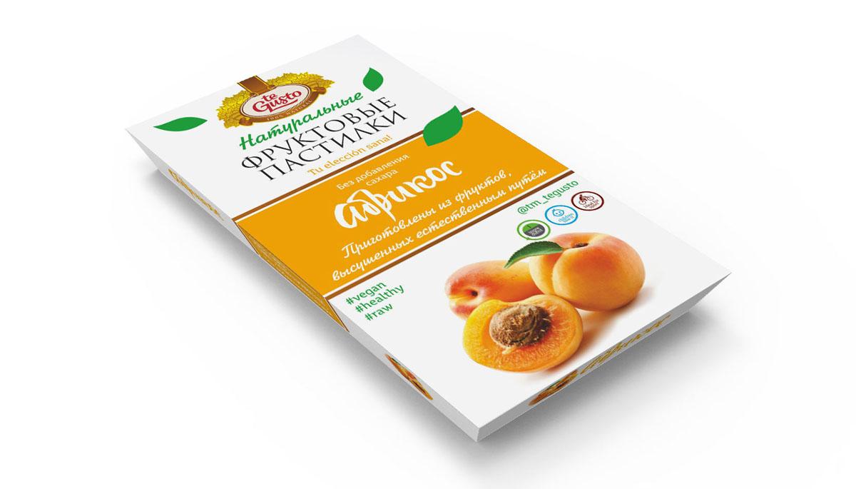 te Gusto Фруктовые пастилки из абрикоса, 90 г4657155301733Фруктовые пастилки te Gusto без ГМО, глютена, сои, сахара, фруктозы, красителей, усилителей вкуса, загустителей. В составе только один ингредиент – плод, выращенный в экологически чистом районе. Особый способ измельчения плодов позволяет сохранить витамины в первозданном виде. Данный продукт создан для людей, ведущих здоровый образ жизни и уделяющих большое внимание своему питанию. Для спортсменов это полезный и питательный перекус, для вегетарианцев – сладость, не содержащая продуктов животного происхождения, для детей – натуральное лакомство, которое единожды попробовав, они предпочитают шоколадкам, и для всех, вне зависимости от возраста и систем питания – здоровый продукт без красителей, консервантов и подсластителей.