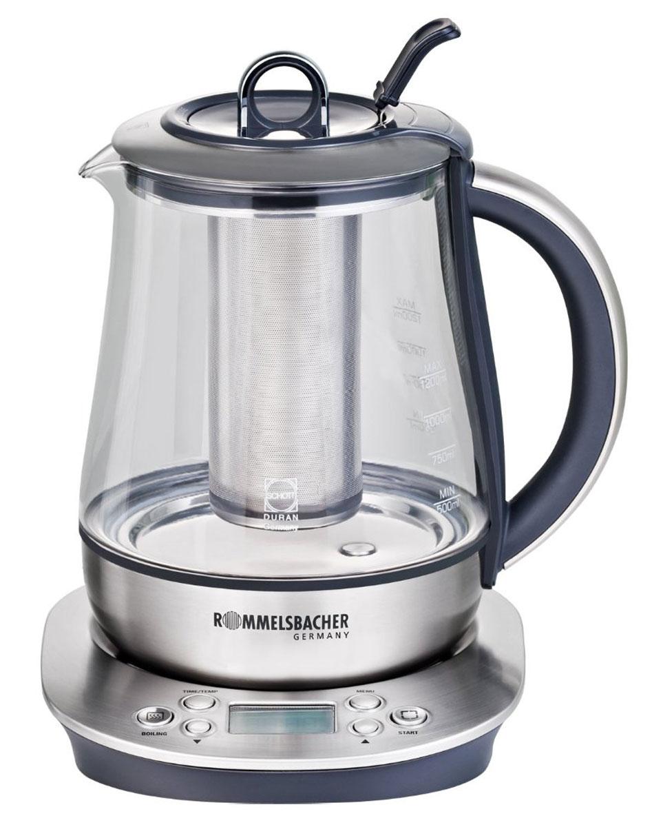 Rommelsbacher TA 1400, Silver электрический чайникTA 1400Rommelsbacher TA 1400 - это мощная (1400 Вт) модель, оснащенная встроенным заварником и кувшином из стекла Schott Duran. С помощью этого чайника вы сможете приготовить чай на большую компанию за считанные минуты. Вращающийся корпус сделает использование чайника еще более удобным, а фильтр избавит от попадания накипи в чашку.5 предустановленных программ Стеклянный кувшин из стекла Schott Duran Электронная установка температуры нагрева от 50 °C до 100 °С с шагом 5 °С Установка времени заваривания до 10 минут Звуковой сигнал при достижении заранее выбранной температуры или окончании заваривания Поддержание установленного уровня температуры в течении 30 минут LCD дисплей
