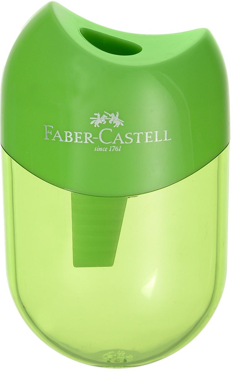 Faber-Castell Мини-точилка с контейнером цвет зеленый183512_зеленыйМини-точилка Faber-Castell выполнена из прочного пластика.В точилке имеется одно отверстие для классических, трехгранных, простых и цветных карандашей.Эргономичная форма контейнера обеспечивает стабильное положение кисти. Карандаш затачивается легко и аккуратно, а опилки после заточки остаются в специальном контейнереповышенной вместимости.
