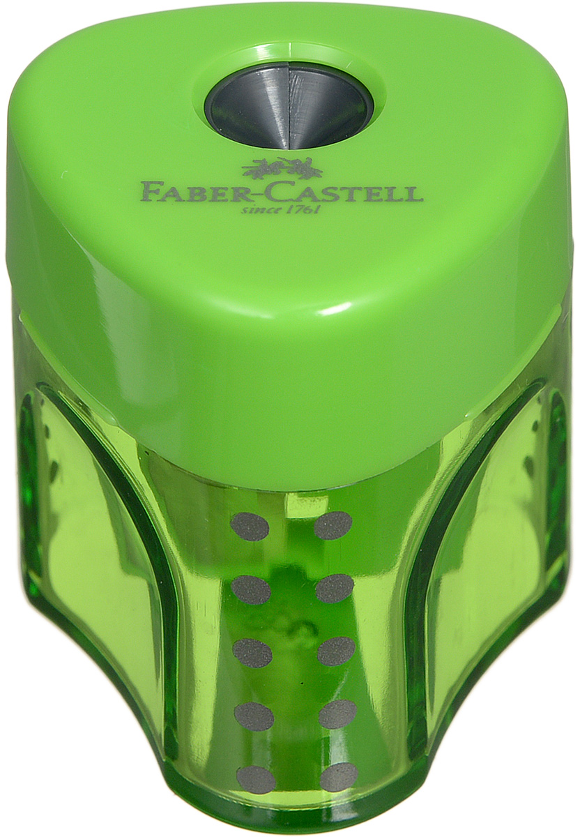 Faber-Castell Точилка Grip цвет зеленый 183403183403_зеленыйТочилка с автоматическим закрытием Faber-Castell Grip предназначена для затачивания карандашей классического диаметра.Прозрачный контейнер позволяет визуально определить уровень заполнения и вовремя произвести очистку. Острые стальные лезвия на отделении обеспечивают высококачественную и точную заточку карандашей.