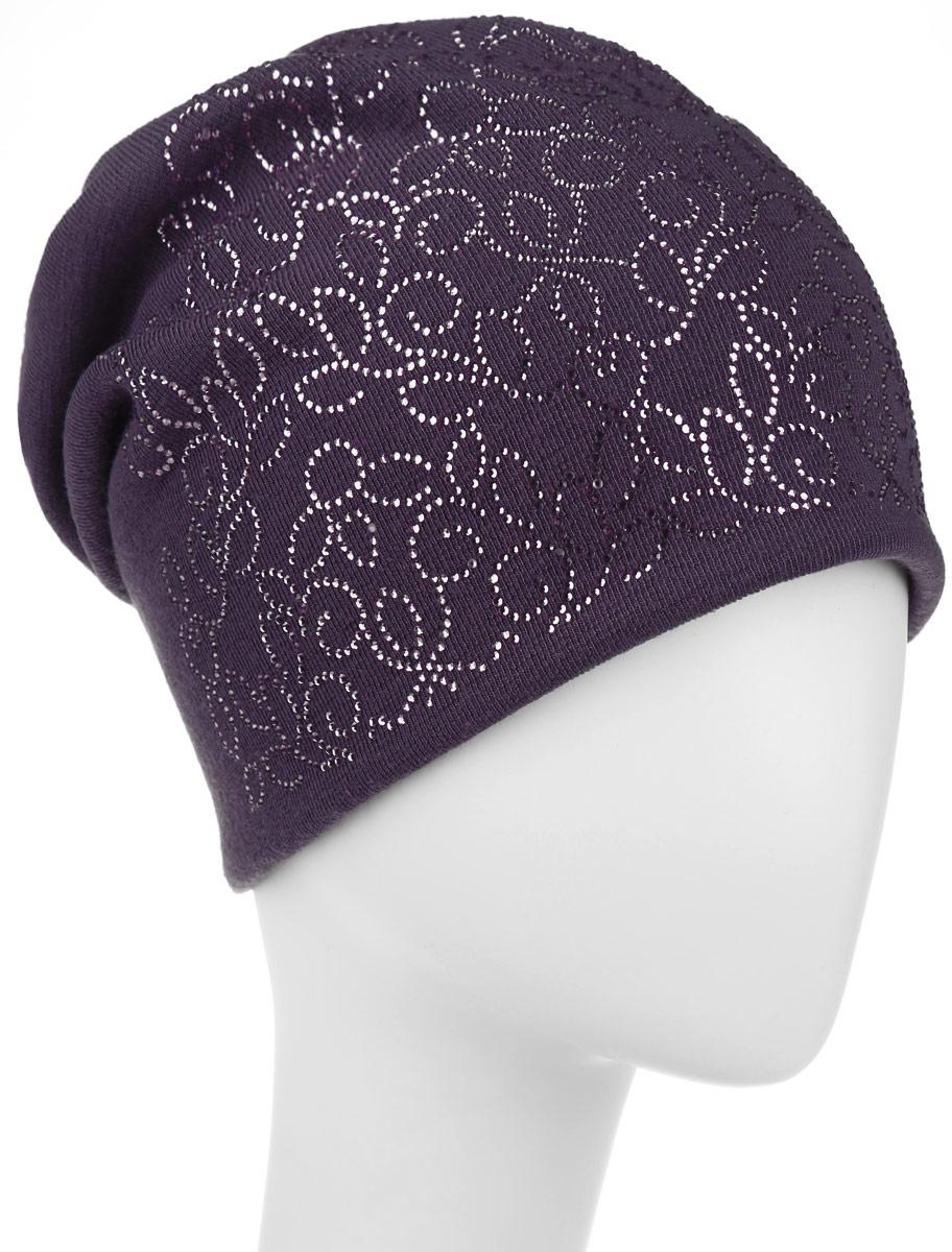 Шапка женская Level Pro Лира, цвет: сиреневый. 994365. Размер универсальный994365Стильная женская шапка Level Pro Лира дополнит ваш наряд и не позволит вам замерзнуть в холодное время года. Шапка наполовину выполнена из шерсти с добавлением полиэстера , что позволяет ей великолепно сохранять тепло и обеспечивает высокую эластичность и удобство посадки. Внутренняя сторона модели флисовая. Удлиненное изделие оформлено оригинальным принтом из блестящих страз и на макушке шапки прикреплен небольшой блестящий ромбик. Такая шапка составит идеальный комплект с модной верхней одеждой, в ней вам будет уютно и тепло.