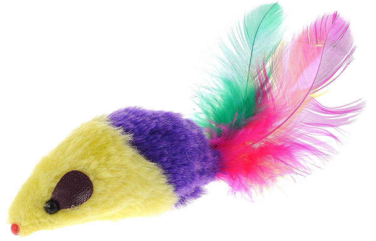 Игрушка для кошек Каскад Мышь, с перьями, цвет: желтый, фиолетовый, длина 8 см27754634_желтый, фиолнтовыйИгрушка для кошек Каскад Мышь изготовлена из искусственного меха, пластика и пера.Такая игрушка порадует вашего любимца, а вам доставит массу приятных эмоций, ведь наблюдать за игрой всегда интересно и приятно.Длина игрушки: 8 см.Длина игрушки с учетом перьев: 15 см.