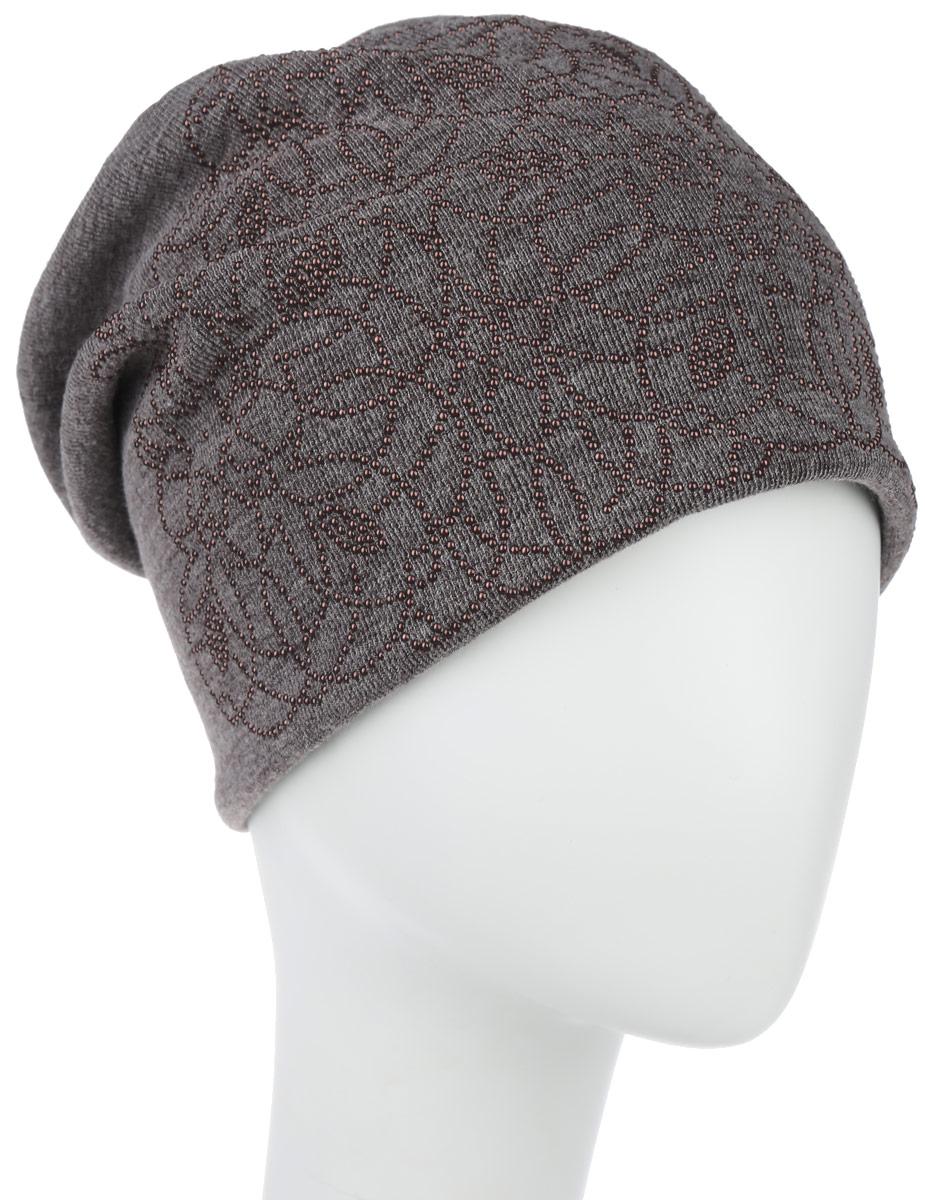 Шапка женская Level Pro Стерео, цвет: светло-коричневый. 994556. Размер универсальный994556Стильная женская шапка Level Pro Стерео дополнит ваш наряд и не позволит вам замерзнуть в холодное время года. Шапка выполнена из шерсти с добавлением полиэстера, что позволяет ей великолепно сохранять тепло и обеспечивает высокую эластичность и идеальную посадку. Трикотажная подкладка модели обеспечивает комфорт при носке.Удлиненное изделие оформлено оригинальным цветочным принтом из матовых бусин и на макушке шапки прикреплен небольшой блестящий ромбик. Такая шапка составит идеальный комплект с модной верхней одеждой, в ней вам будет уютно и тепло.