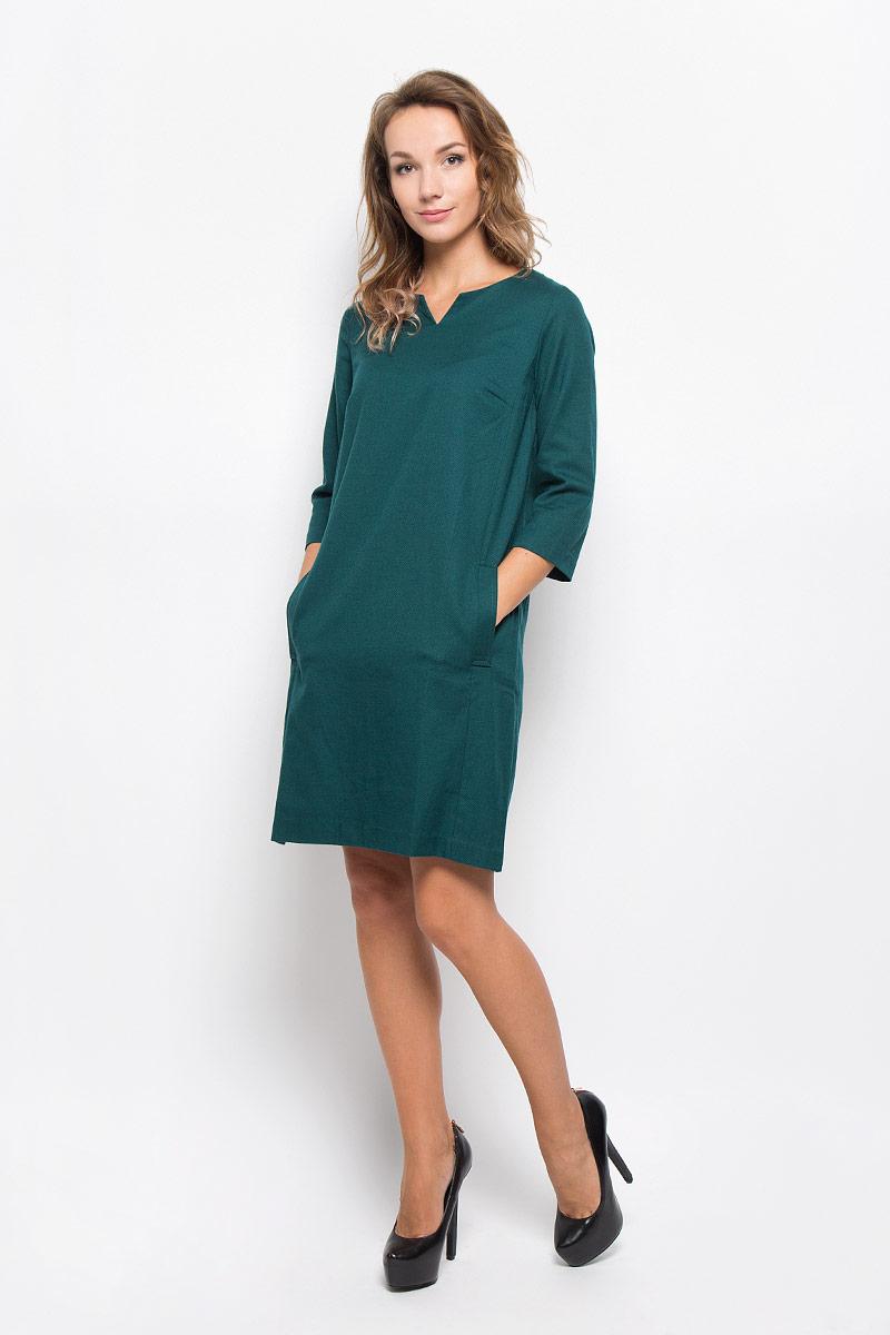 Платье Baon, цвет: зеленый. B412. Размер L (48)B412_NIGHT FORESTЭлегантное платье Baon выполнено из высококачественного плотного трикотажа. Такое платье обеспечит вам комфорт и удобство при носке и непременно вызовет восхищение у окружающих.Модель средней длины с рукавами 3/4 и V-образным вырезом горловины выгодно подчеркнет все достоинства вашей фигуры. Изделие застегивается на застежку-молнию на спинке и имеет два втачных кармана по бокам. Изысканное платье-миди создаст обворожительный и неповторимый образ.Это модное и комфортное платье станет превосходным дополнением к вашему гардеробу, оно подарит вам удобство и поможет подчеркнуть ваш вкус и неповторимый стиль.
