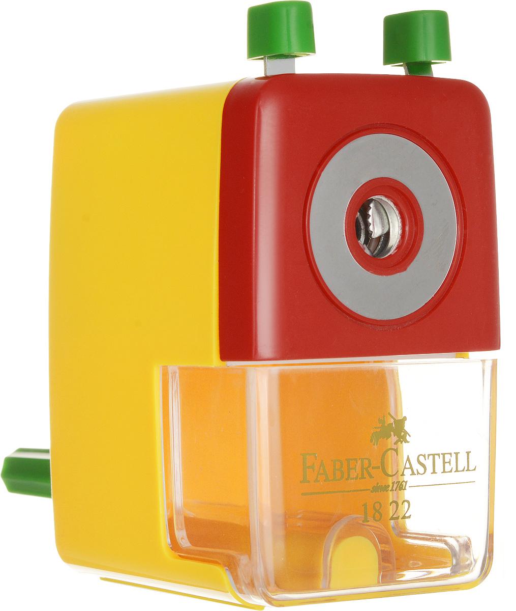 Faber-Castell Точилка настольная цвет желтый582200_желтыйТочилка Faber-Castell - удобный и практичный инструмент в повседневной офисной работе.Точилка из высококачественного пластика оснащена рукояткой с механизмом кругового вращения и съемным контейнером для стружки. Вращающийся, остро заточенный металлический нож точилки обеспечивает бережную и качественную заточку круглых, шестигранных и трехгранных карандашей.В комплекте с точилкой предусмотрено крепление к столу.