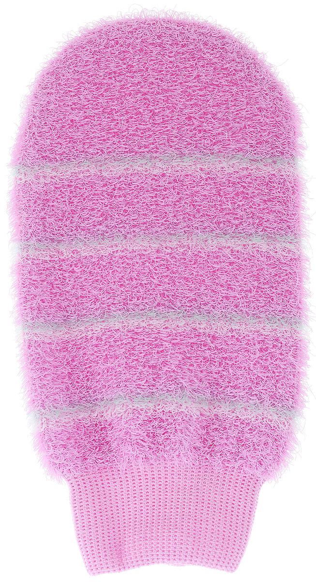 Мочалка-рукавица массажная Riffi, цвет: розовый