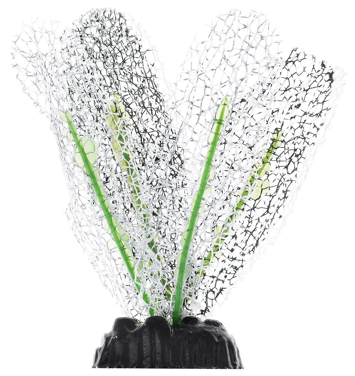 """Растение для аквариума Barbus """"Апоногетон натанс"""", шелковое, цвет: белый, высота 10 см"""