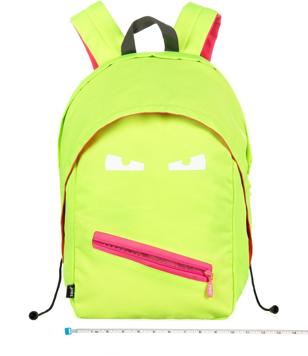 Zipit Рюкзак Grillz Backpacks цвет лаймZBPL-GR-3С рюкзаком Zipit Grillz Backpacks дети будут с хорошим настроением весь день! Крыша, глаза ирасстегивающийся рот - это отличает рюкзак от других! У рюкзака одно основное отделение иодин маленький внешний карман. Мягкая спинка и регулируемые мягкие ремни - все, что нужнодля комфорта!