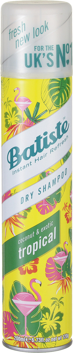 Batiste Сухой шампунь для волос Tropikal, 200 мл503304Сухой шампунь Batiste с кокетливо-цветочным ароматом быстро очищает и освежает волосы. Сухой шампунь устраняет жирность корней, придавая скучным и безжизненным волосам необходимый блеск, без использования воды. Быстро освежает и повышает силу волос, придает телу волоса и текстуру и оставляет ощущение чистоты и свежести.Сухой шампунь идеален для использования, когда:- у вас нет времени мыть голову обычным шампунем,- у вас много других дел,- ваша жизнь - сплошной круговорот событий.Сухой шампунь быстро и эффективно абсорбирует грязь и жир, тем самым очищая волосы. Способ применения:Шаг 1. Распылите сухой шампунь на волосы на расстоянии 30 см.Шаг 2. Помассируйте голову несколько минут. Во время массажных движений пальцами сухой шампунь проникает в стержень волоса, абсорбирует грязь и жир, тем самым восстанавливая его.Шаг 3. Причешитесь и ваши волосы снова мягкие и чистые.Товар сертифицирован.Сухой шампунь: всё, что нужно знать. Статья OZON Гид