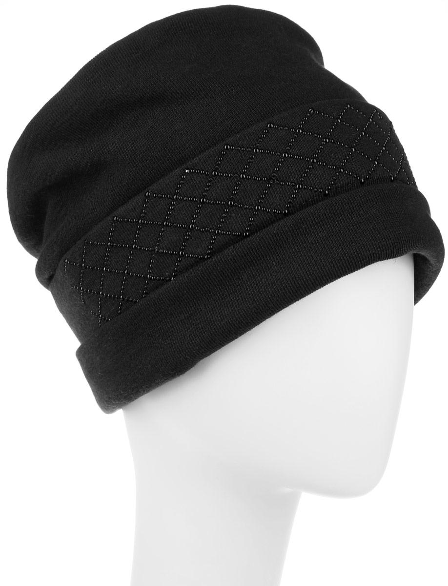 Шапка женская Level Pro Сетка+росчерк, цвет: черный. 994378. Размер универсальный994378Стильная женская шапка Level Pro дополнит ваш наряд и не позволит вам замерзнуть в холодное время года. Шапка выполнена из шерсти с добавлением полиэстера, что позволяет ей великолепно сохранять тепло и обеспечивает высокую эластичность и удобство посадки. Внутренняя сторона модели флисовая. Изделие оформлено оригинальными тканевыми прострочками спереди и сзади. Дополнено выкладкой из блестящих страз. Такая шапка составит идеальный комплект с модной верхней одеждой, в ней вам будет уютно и тепло.