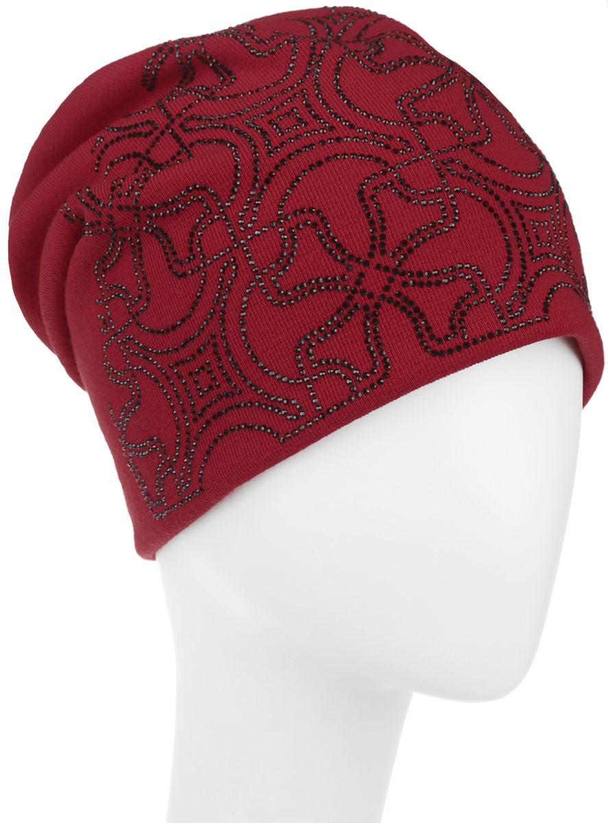 Шапка женская Level Pro Калейдоскоп, цвет: красный. 994541. Размер универсальный994541Стильная женская шапка Level Pro дополнит ваш наряд и не позволит вам замерзнуть в холодное время года. Шапка выполнена из шерсти с добавлением полиэстера, что позволяет ей великолепно сохранять тепло и обеспечивает высокую эластичность и удобство посадки. Сзади шапка присборена. Внутри - флисовая подкладка.Оформлена модель аппликацией из страз и на макушке дополнена большой стразой. Такая шапка составит идеальный комплект с модной верхней одеждой.