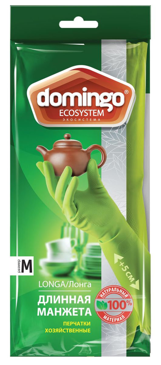 Перчатки хозяйственные Доминго, с хлопковым напылением, цвет: зеленый. Размер MХ0626 (M)Хозяйственные перчатки Доминго с удлиненной манжетой изготовлены из высококачественного латекса с рифленой поверхностью, которая позволяет удерживать мокрые предметы. Внутреннее хлопковое напыление обеспечивает комфорт и защищает кожу рук от раздражений. Перчатки подходят для различных видов домашних работ. Перчатки прочные, эластичны, хорошо облегают руку.