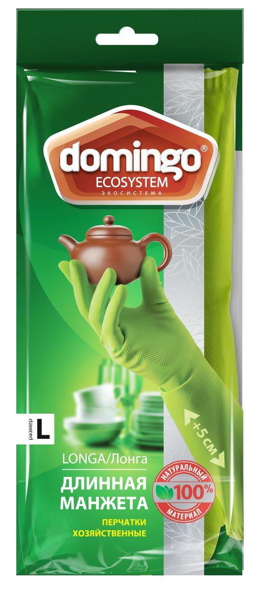 Перчатки хозяйственные Доминго, с хлопковым напылением, цвет: зеленый. Размер LХ0626 (L)Хозяйственные перчатки Доминго с удлиненной манжетой изготовлены из высококачественного латекса с рифленой поверхностью, которая позволяет удерживать мокрые предметы. Внутреннее хлопковое напыление обеспечивает комфорт и защищает кожу рук от раздражений. Перчатки подходят для различных видов домашних работ. Перчатки прочные, эластичны, хорошо облегают руку.