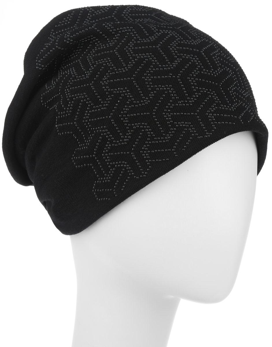 Шапка женская Level Pro, цвет: черный. 994491. Размер универсальный994491Стильная женская шапка Level Pro дополнит ваш наряд и не позволит вам замерзнуть в холодное время года. Шапка наполовину выполнена из шерсти с добавлением полиэстера, что позволяет ей великолепно сохранять тепло и обеспечивает высокую эластичность и удобство посадки. Сзади шапка присборена. Оформлена модель аппликацией из металлических страз. Такая шапка составит идеальный комплект с модной верхней одеждой.