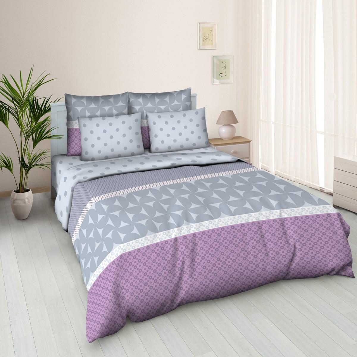 Комплект белья Letto, евро, наволочки 70х70, цвет: серый. B136-6 комплект белья letto дуэт семейный наволочки 70х70 цвет голубой b33 7
