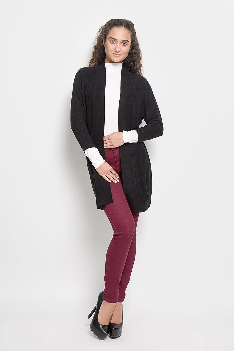 Кардиган женский Sela Casual, цвет: черный. CN-114/416-6342. Размер S (44)CN-114/416-6342Классический женский кардиган Baon с V-образным вырезом горловины будет гармонично смотреться в сочетании как с джинсами, так и с брюками. Модель выполнена из высококачественной пряжи, мягкой и приятной на ощупь. Манжеты, горловина и низ изделия связаны резинкой, что предотвращает деформацию при носке. В нем вы будете чувствовать себя уютно в прохладное время года.
