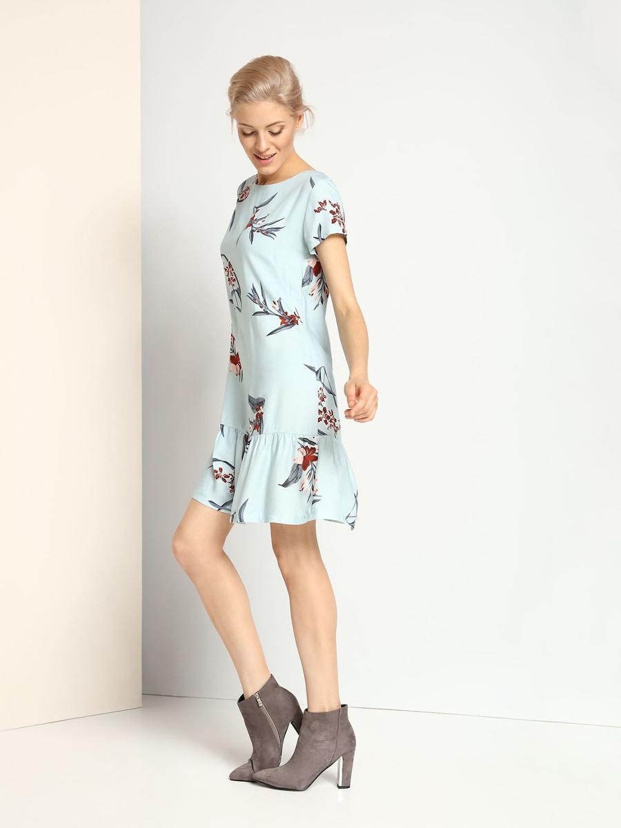 Платье Top Secret, цвет: голубой. SSU1683NI. Размер 34 (40)SSU1683NIКлассической платье Top Secret, изготовленное из 100% вискозы, приятное на ощупь, не раздражает кожу и хорошо вентилируется.Модель-миди с короткими рукавами застегивается на спинке на пуговицу. Низ юбки дополнен элегантными складочками. Оформлена модель контрастным цветочным принтом.