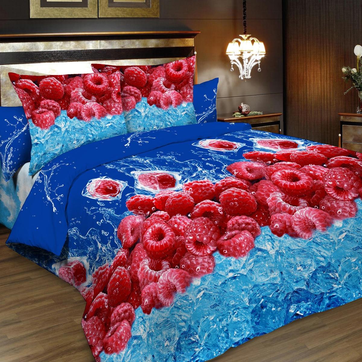 """Комплект белья """"Letto"""", 2-спальный, наволочки 70х70, цвет: голубой, синий, красный. B185-4"""