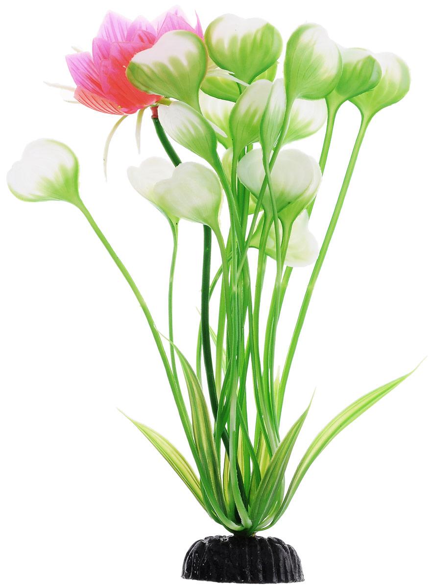 Растение для аквариума Barbus Кувшинка с цветком, пластиковое, высота 20 см