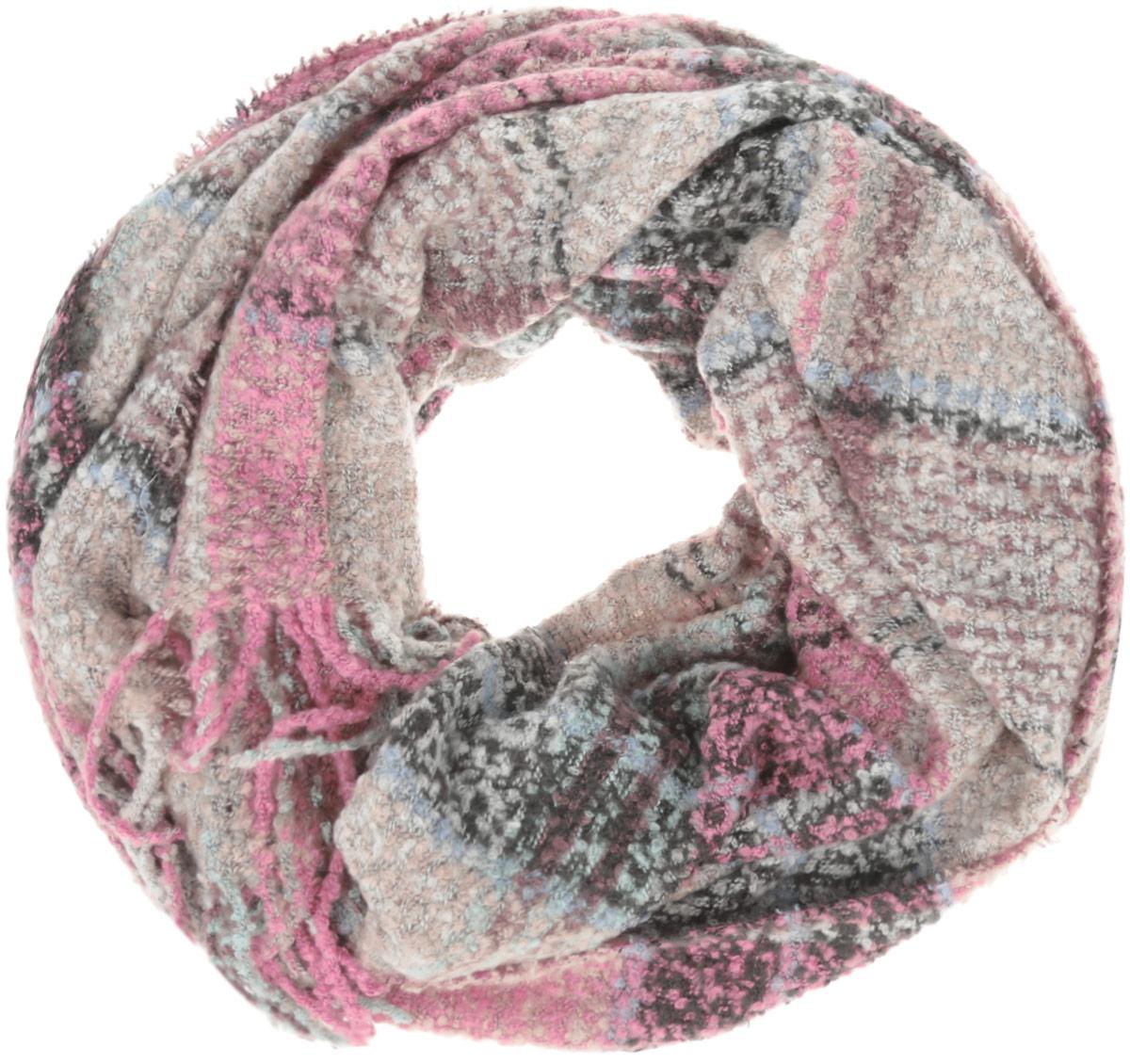 Шарф женский Sela, цвет: черный, розовый, кремовый. SCw-142/465-6404. Размер 180 см x 64 смSCw-142/465-6404Восхитительный женский вязаный шарф Sela - отличная модель для зимней погоды. Выполненный из полиэстера, он прекрасно сохраняет тепло и защищает от холода. Шарф связан оригинальным узором и оформлен декоративными кисточками. Такой аксессуар достойно дополнит ваш гардероб.