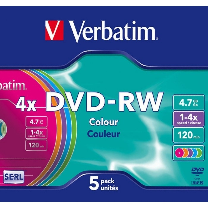 Диск DVD-RW Verbatim 4.7Gb 4x Slim Color (5 шт)43563