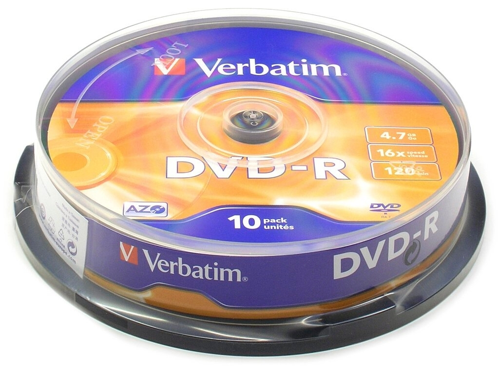 Диск DVD-R Verbatim 4.7Gb 16x Cake Box (10 шт) кольца