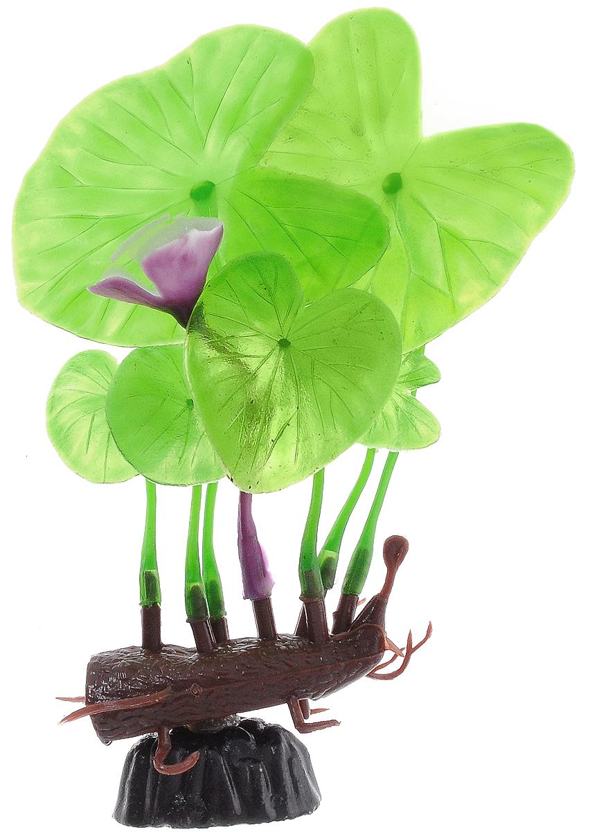 Растение для аквариума Barbus Лилия зеленая с цветком, пластиковое, высота 10 см