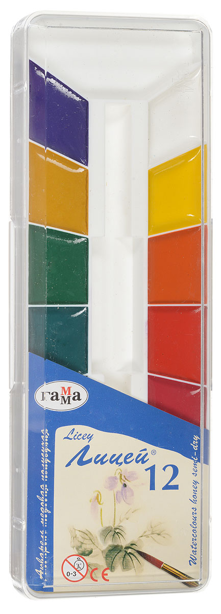 Гамма Акварель медовая Лицей 12 цветов212064Акварельные полусухие краски Гамма Лицей в удобной пластмассовой упаковке с прозрачной крышкой помогут воплотить в жизнь любые художественные замыслы на занятиях в школах, детских садах, художественных кружках или дома. Яркие насыщенные цвета делают процесс рисования более увлекательным.Кисточка в комплект не входит.