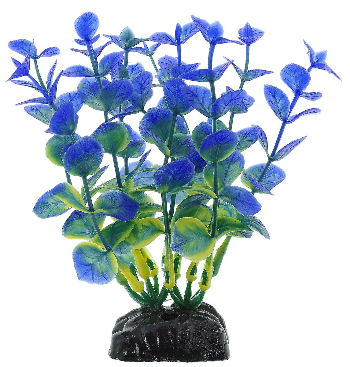 Растение для аквариума Barbus Бакопа, пластиковое, цвет: зеленый, синий, высота 10 см