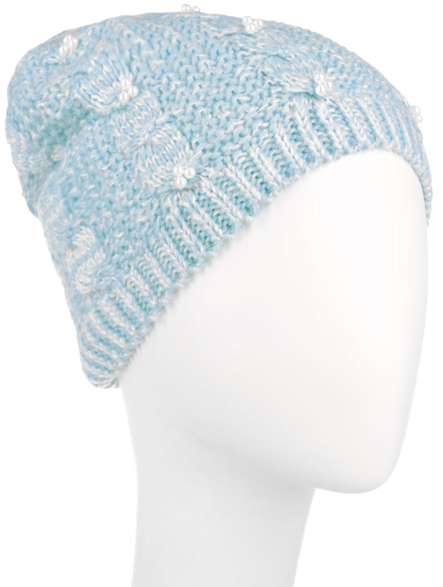 Шапка женская Sela, цвет: светло-бирюзовый. HAk-141/018-6404. Размер 56/58HAk-141/018-6404Стильная женская шапка Sela дополнит ваш наряд и не позволит вам замерзнуть в холодное время года. Шапка выполнена из акрила добавлением люрекса, что позволяет ей великолепно сохранять тепло и обеспечивает высокую эластичность и удобство посадки. Оформлена модель интересным вязаным узором и дополнена бусинами.Такая шапка составит идеальный комплект с модной верхней одеждой.Уважаемые клиенты!Размер, доступный для заказа, является обхватом головы.
