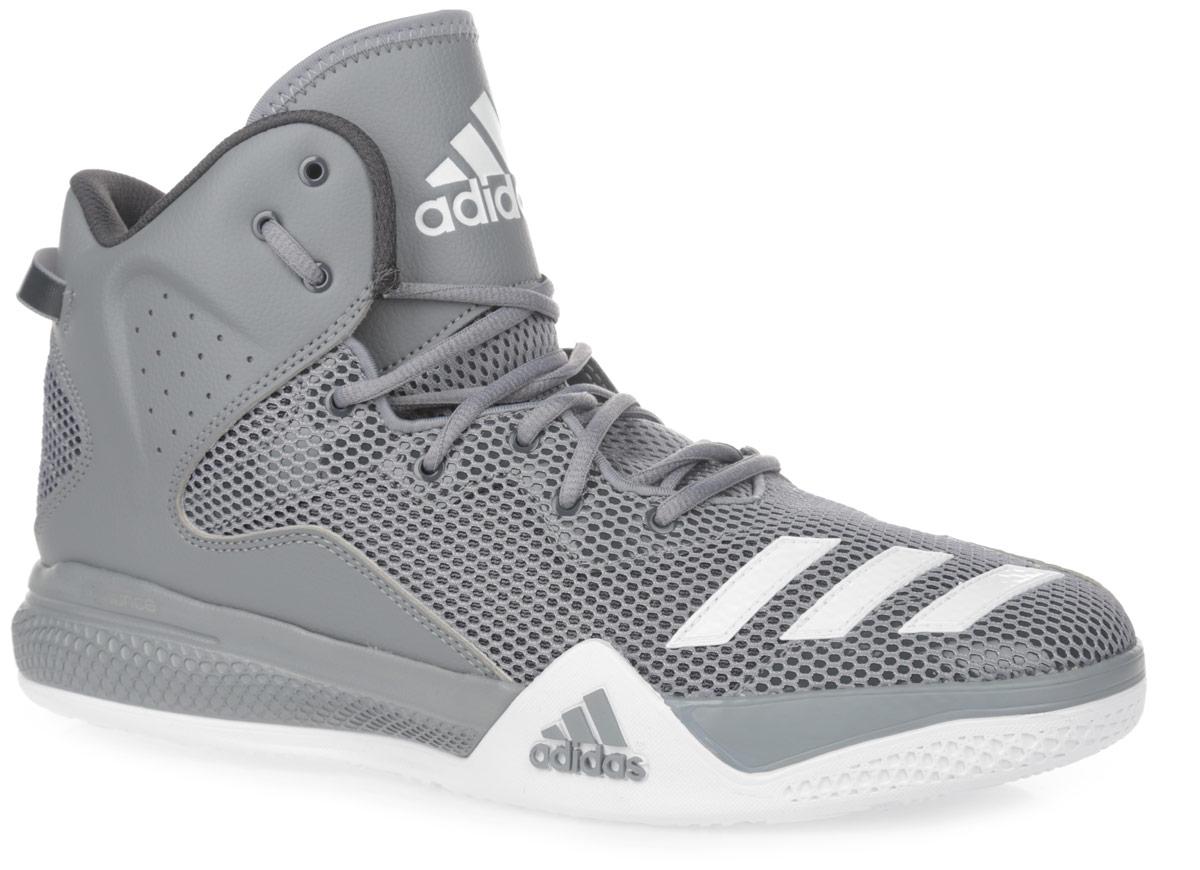 Кроссовки мужские для баскетбола adidas Performance DT BBall Mid, цвет: темно-серый. AQ7754. Размер 12 (46)AQ7754Стильные высокие кроссовки DT BBall Mid от adidas Performance идеально подойдут для занятия баскетболом. Модель выполнена из сетчатого текстиля и дополнена вставками из искусственной кожи, которые обеспечивают поддержку ноги. Мыс оформлен тремя полосками из ПВХ, боковые стороны - перфорацией, язычок - нашивкой с фирменным тиснением. Классическая шнуровка надежно зафиксирует изделие на стопе. Текстильная подкладка и мягкий манжет предотвратят натирание и гарантируют уют. Стелька из материала ЭВА с текстильной поверхностью обеспечит лучшую амортизацию. Промежуточная подошва bounce предназначена для поглощения ударных нагрузок. Уплотненный задник защитит ноги от ударов. Текстильная петля на заднике облегчает надевание модели. Рельефная поверхность подошвы обеспечивает отличное сцепление с любой поверхностью. Такие кроссовки придутся вам по душе.