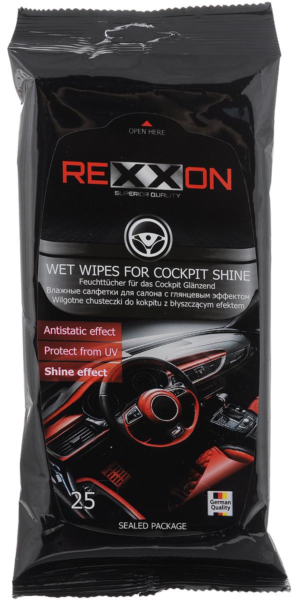 Салфетки влажные Rexxon, для салона автомобиля, с глянцевым эффектом, 25 шт2-1-1-2G-1Влажные салфетки Rexxon предназначены для ухода за интерьером автомобиля с глянцевым эффектом. Эффективно очищают поверхность, защищают от вредного воздействия солнечных лучей, замедляют процесс износа пластика, задерживают оседание пыли. Не оставляют следов. Состав: нетканое полотно, пропитывающий лосьон. Состав пропитывающего лосьона: деминерализованная вода, пропиленгликоль, ПАВ (менее 5%), консервант, отдушка (парфюмерная композиция менее 5%), ЭДТА.Товар сертифицирован.