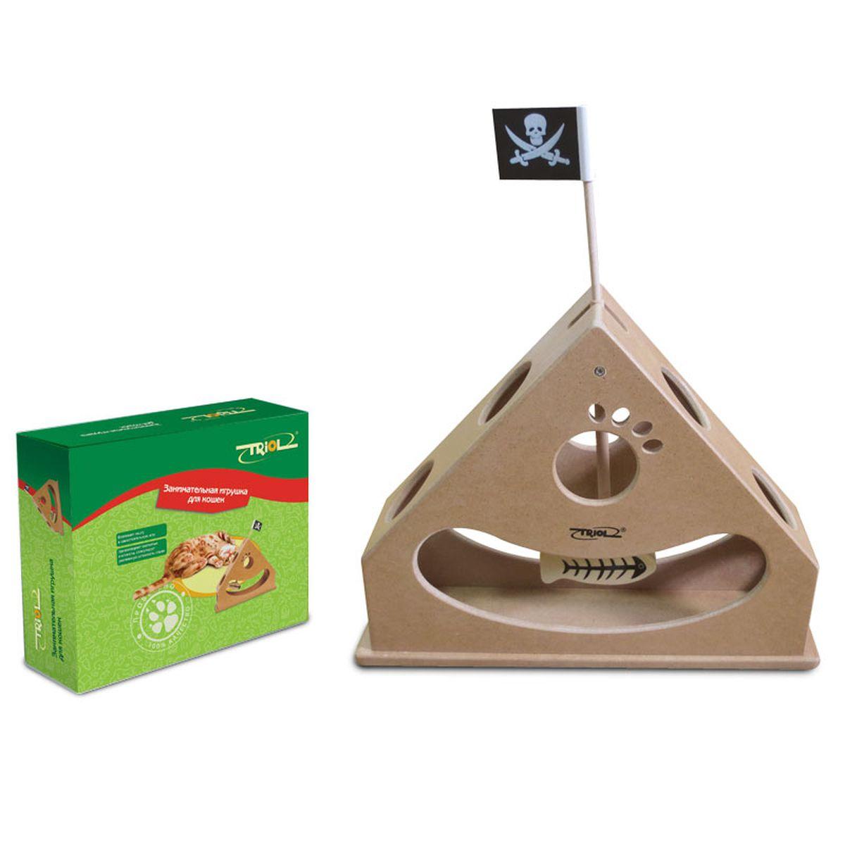 Игрушка для кошек Triol, 29,8 х 7,8 х 30 смTT04Развивающая игрушка Triol поможет стимулировать охотничьи навыки кошек, активное выслеживание добычи. Игрушка выполнена из МДФ.Поставьте этот маяк перед кошкой и понаблюдайте за тем, как ваш питомец будет прицеливаться в маленькую рыбку на конце маяка, используя всевозможные способы. Вы также можете использовать игрушку для того, чтобы прятать в ней угощения.