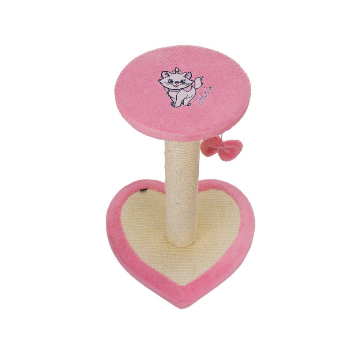 Когтеточка Triol Disney Marie, на подставке, цвет: розовый, 33 х 33 х 45 смWD2003Яркая и нарядная когтеточка Triol Disney со знаменитой белой кошечкой Marie. Когтеточки жизненно необходимы кошкам не только для стачивания отрастающих и меняющихся когтей. Это также средство релаксации, так как в процессе когтедрания у кошки вырабатывается гормон удовольствия, который помогает ей противостоять каждодневным стрессам. С помощью когтеточек TRIOL Disney пушистый хищник может точить когти о столбик, оплетенный сизалем, а также об основание в форме сердца, на верхнем этаже удобно устроить уютный наблюдательный пункт. К когтеточке прикреплена игрушка - меховой бантик, в ваше отсутствие кошка сможет себя развлечь.