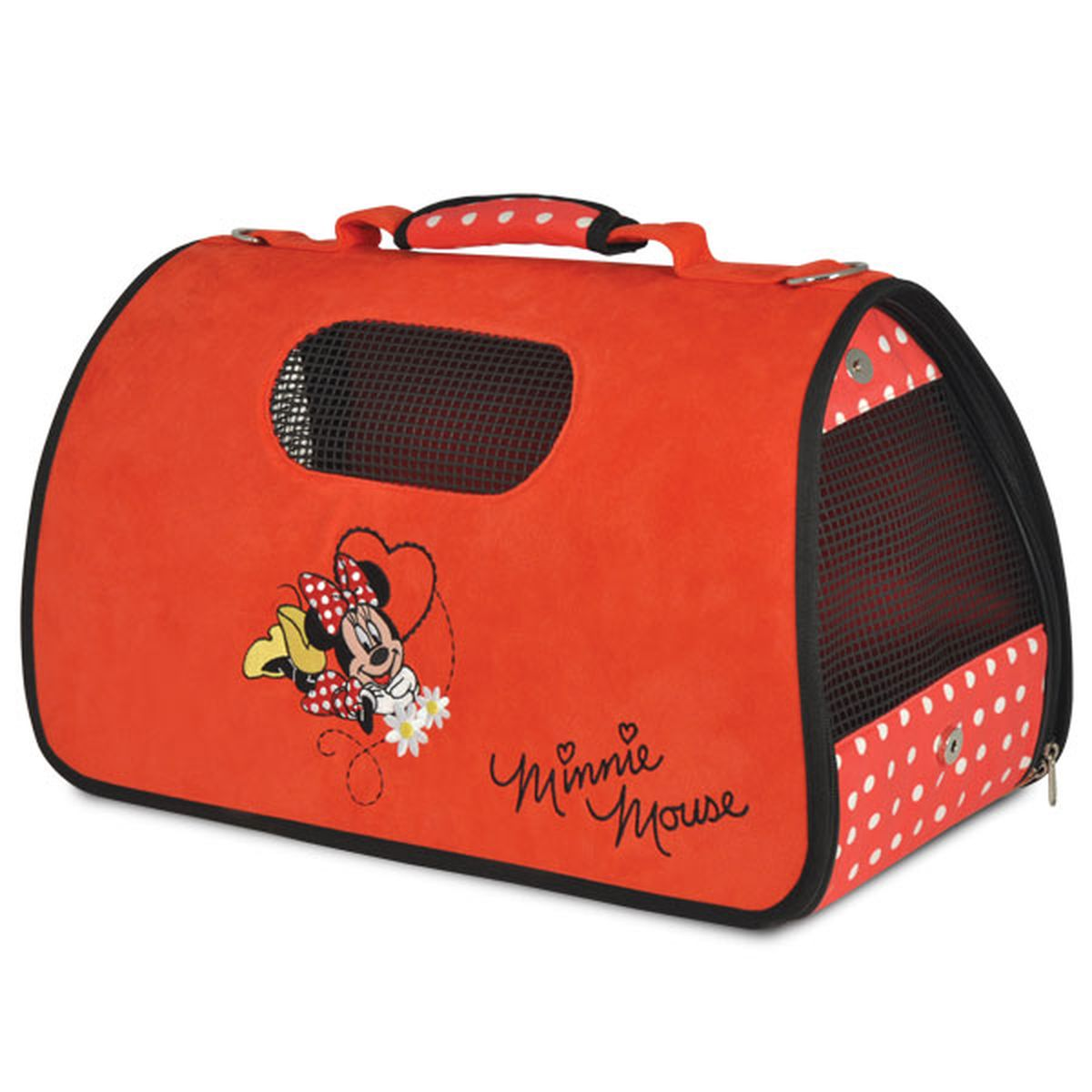 Сумка-переноска для животных Triol Disney Minnie, цвет: красный, черный, 50 х 28 х 29 смWD3007Складная, удобная в использовании сумка-переноска Triol Disney Minnie, изготовлена из мягкого велюра с изображением известного персонажа Minnie. Сумка отлично держит форму. Открывается при помощи молнии с двух сторон. Пластиковые ножки на дне сумки позволяют ставить ее на любую поверхность, не пачкая дно. Вентиляционные окна прорезинены, располагаются сбоку и сверху, обеспечивают достаточное количество воздуха для питомца. Один из боков сумки можно сделать открытым для головы вашего питомца. При этом в целях безопасности используйте поводок-фиксатор (идет в комплекте с сумкой). К сумке также прилагается ремень с тканевым бегунком, чтобы носить её на плече. Сумка поставляется в полипропиленовом пакете на молнии с веревочными ручками, что очень удобно для хранения.Размер: 50 х 28 х 29 смПрикольные переноски, которые наверняка понравятся питомцу. Статья OZON Гид
