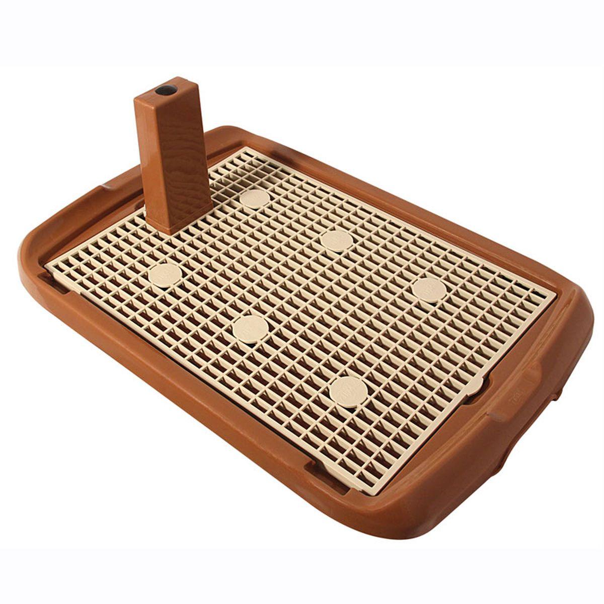 Туалет для собак Triol, со столбиком, цвет: коричневый, 60 х 40 х 4,5 смМт-500Туалет для собак Triol предназначен для собак мелких и средних пород, а также для щенков. Столбик закрепляется на сетке (в любом удобном месте), при необходимости его можно снять. Под сетку кладется впитывающая пеленка, поэтому лапы остаются сухими. Сетка мягкая, эластичная, приятная на ощупь, изготовлена из качественной резины.Размер: 60 х 40 х 4,5 см
