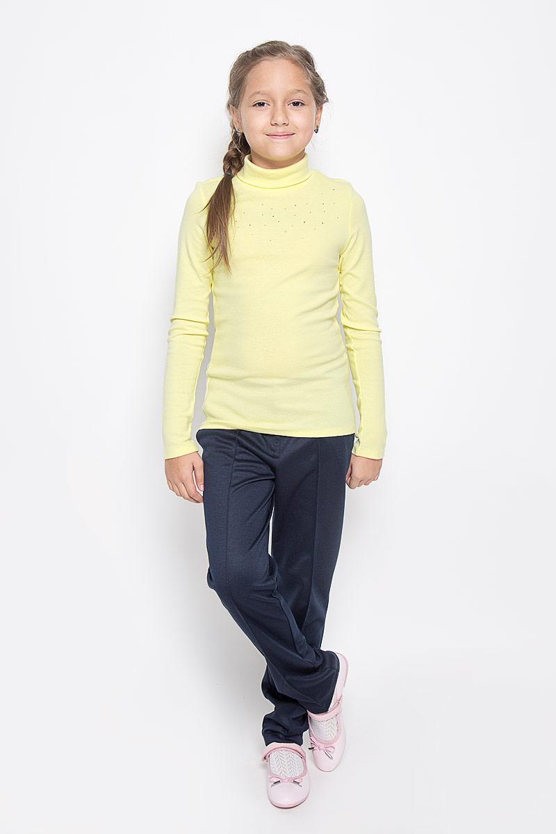 Водолазка для девочки Sela, цвет: желтый. Tt-611/078-6311. Размер 116, 6 летTt-611/078-6311Модная водолазка Sela идеально подойдет вашей девочке. Изготовленная из эластичного хлопка, она необычайно мягкая и приятная на ощупь, не сковывает движения ребенка и позволяет коже дышать, не раздражает даже самую нежную и чувствительную кожу ребенка, обеспечивая наибольший комфорт. Водолазка с длинными рукавами и воротником-гольф оформлена спереди стразами.Современный дизайн и яркая расцветка делают эту водолазку модным и стильным предметом детского гардероба. В ней ваша модница будет чувствовать себя уютно и комфортно, и всегда будет в центре внимания!