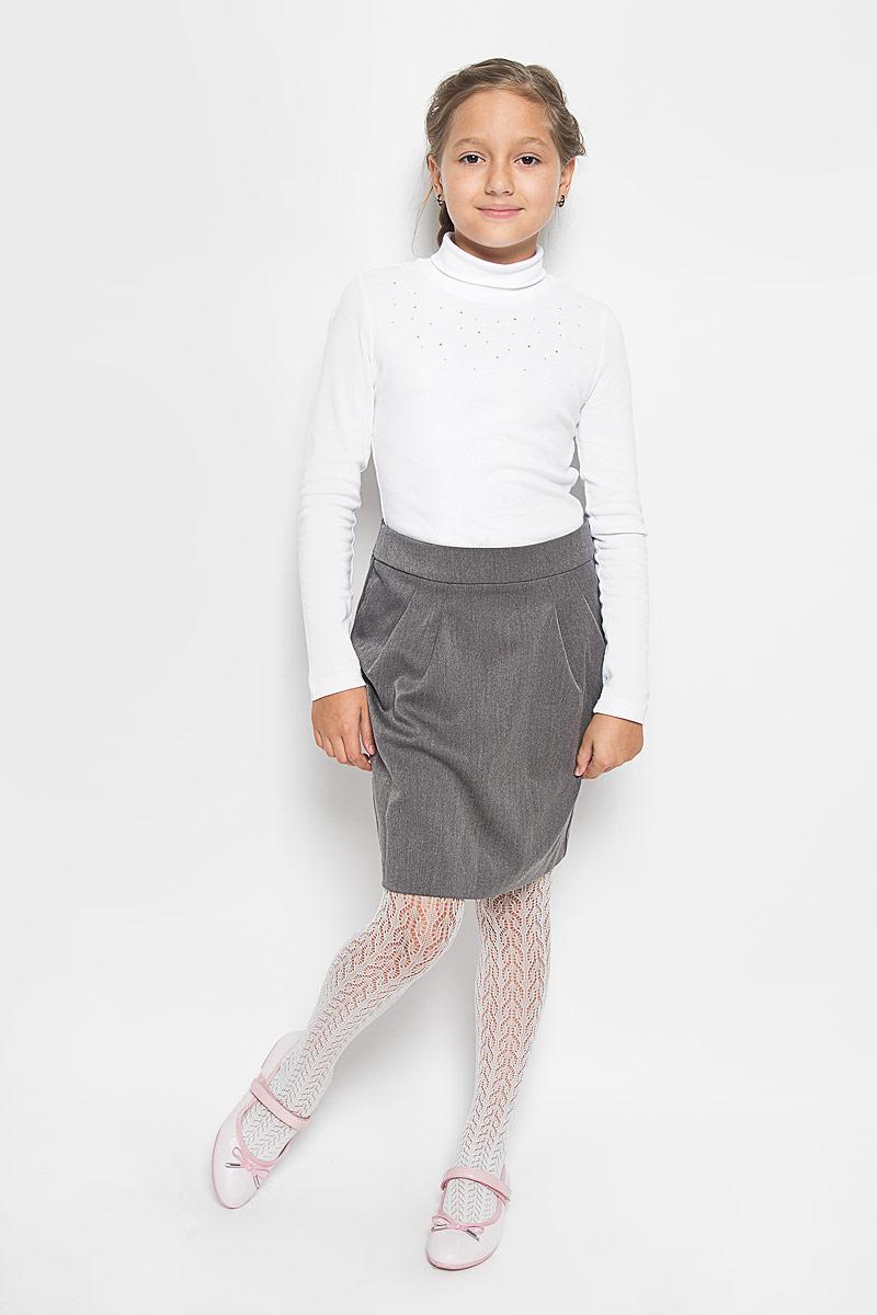 Юбка для девочки Orby School, цвет: серый. 64417_OLG, вариант 1. Размер 158, 11-12 лет64417_OLG, вар.1Стильная юбка для девочки Orby School идеально подойдет для школы и повседневной носки. Изготовленная из полиэстера и вискозы с добавлением эластана, она необычайно мягкая и приятная на ощупь, не сковывает движения и позволяет коже дышать, не раздражает даже самую нежную и чувствительную кожу ребенка, обеспечивая наибольший комфорт. Материал не скатывается и легко гладиться. Юбка-миди застегивается сзади на потайную застежку-молнию и имеет в поясе скрытую эластичную резинку на пуговицах, с помощью которой можно изделие подгонять по фигуре. Спереди модель дополнена оригинальными складками, а сзади небольшой шлицей.Такая юбка станет отличным дополнением к гардеробу вашей девочки. В ней она всегда будет чувствовать себя уверенно и удобно.