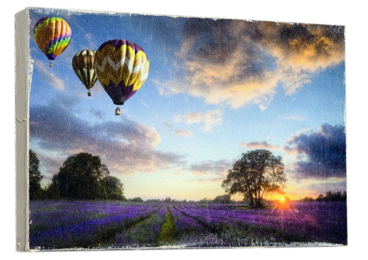 Картина Mister Poster Воздушные шары над лавандовым полем, 22 х 14,5 см картина mister poster розовые цветы вишни 22 х 14 5 см