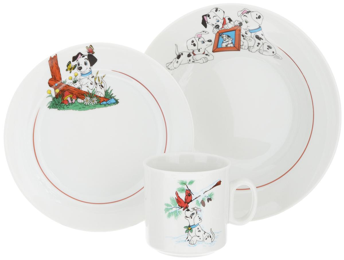 """Набор посуды """"Идиллия. Далматинцы"""" состоит из кружки, десертной и суповой  тарелок. Изделия выполнены из высококачественного фарфора, украшенного  красочным рисунком.  Набор посуды """"Идиллия. Далматинцы"""" прекрасно подойдет для вашего ребенка. В  нем есть вся необходимая посуда для завтраков, обедов и ужинов. Красивый  дизайн порадует малыша и превратит прием пищи в веселое занятие. Объем суповой тарелки: 360 мл. Диаметр суповой тарелки (по верхнему краю): 14,5 см. Высота суповой тарелки: 5 см. Диаметр десертной тарелки (по верхнему краю): 16,5 см. Высота десертной тарелки: 2 см. Объем кружки: 200 мл. Диаметр кружки (по верхнему краю): 7,2 см. Высота кружки: 7,5 см."""