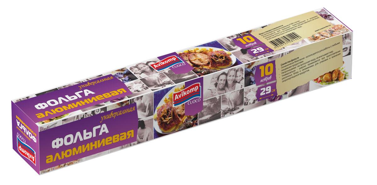 Фольга Avikomp Cuoco, универсальная, 10 м1424Фольга используется для хранения, приготовления и упаковки продуктов в быту и на предприятиях общественного питания, в системе быстрого питания фаст-фуд. - незаменима для упаковки и хранения скоропортящихся продуктов; - совместима с любыми пищевыми продуктами; - не пропускает воду, не впитывает жир.