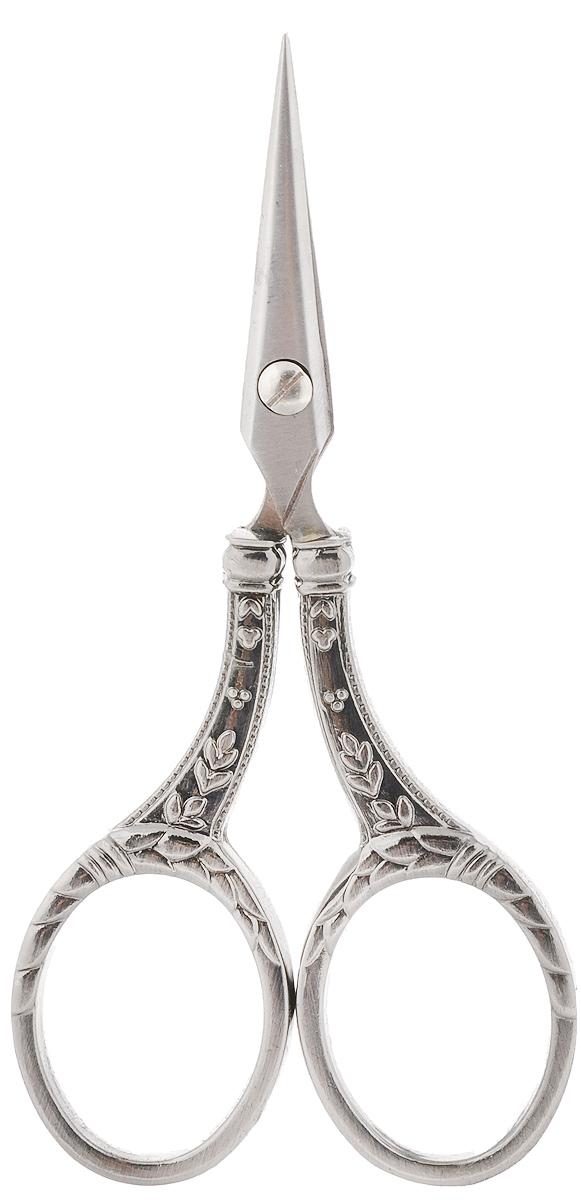 Ножницы для вышивания Hemline, длина 11 см. 340340Ножницы для вышивания Hemline выполнены вручную из качественнойнержавеющей стали, которая остается острой на протяжении многих лет. Изделиепрошло проверку на специализированной фабрике, производящей ножницы втечение 50 лет. Тонкие и острые кончики идеальны для мелкой ручной работы,например, обрезания нитей. Рукоятки декорированы красивым рельефом.