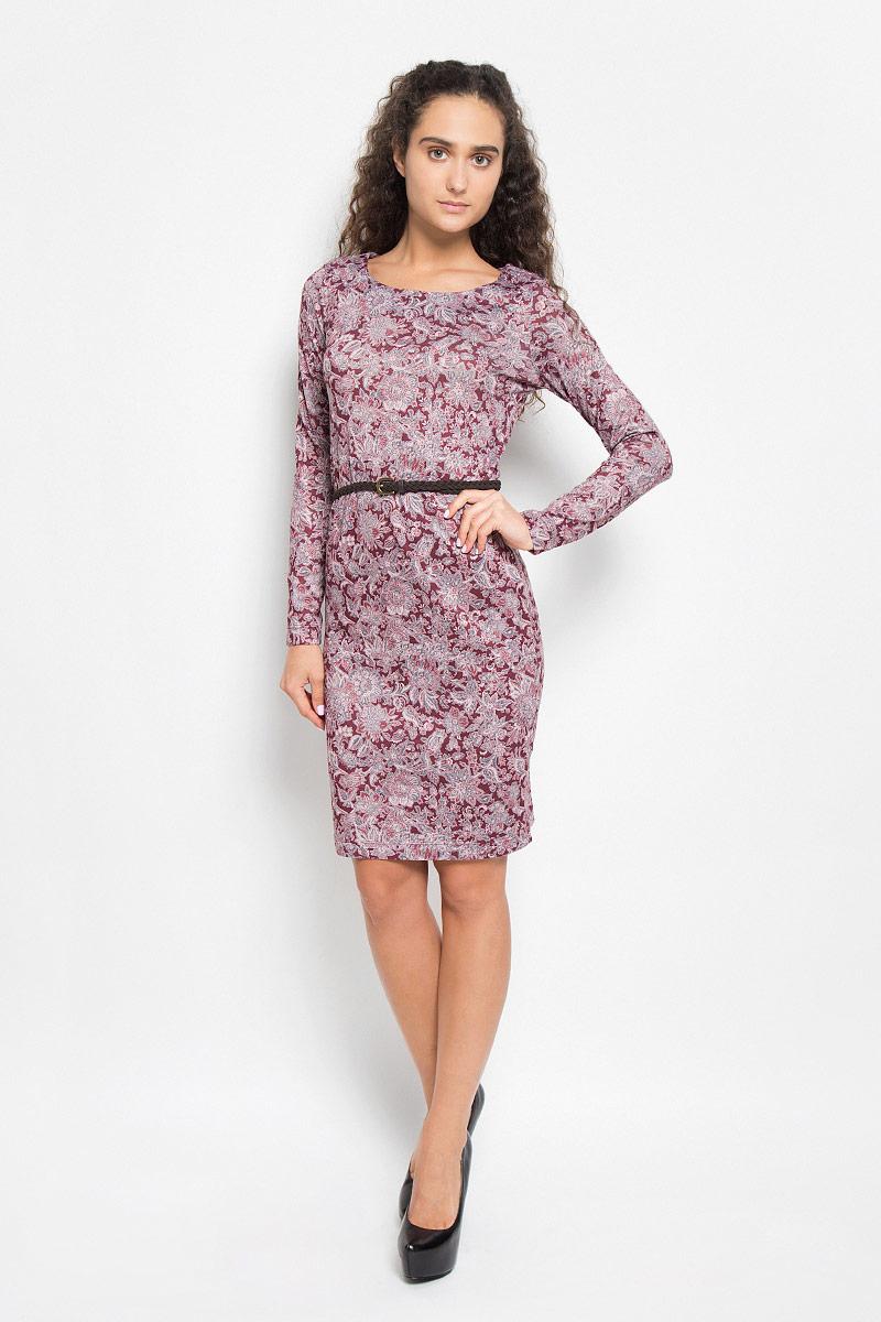 Платье Sela, цвет: бордовый, розовый. DK-117/1039-6393. Размер S (44)DK-117/1039-6393Модное платье Sela, выполненное из полиэстера с добавлением эластана, оформлено цветочным принтом. Материал изделия мягкий и приятный на ощупь.Платье-миди с круглым вырезом горловины и длинными рукавами придется вам по душе. Модель дополнена плетеным ремнем с металлической пряжкой. Такое платье станет стильным дополнением к вашему гардеробу, оно подарит вам комфорт в течение всего дня!