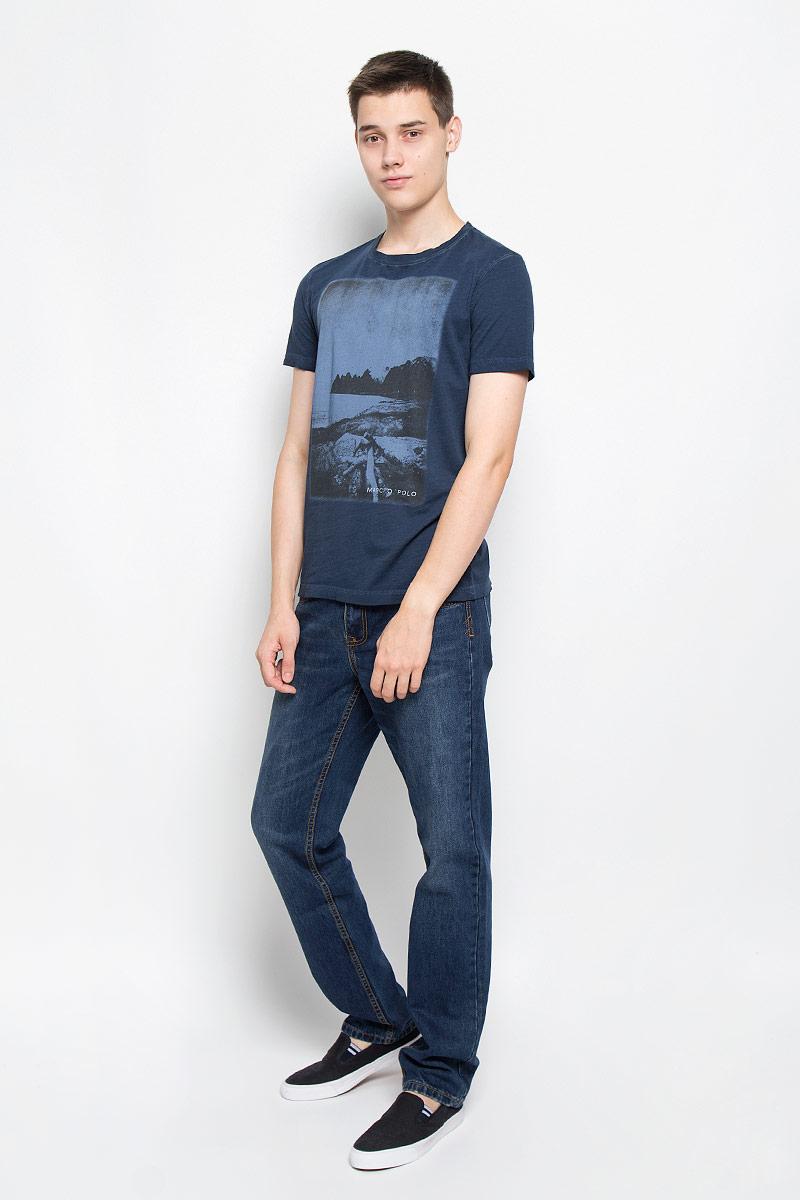 Футболка мужская Marc O'Polo, цвет: темно-синий. 210051222/873. Размер XL (52) куртка мужская marc o polo цвет черный 020670162 985 размер xl 54
